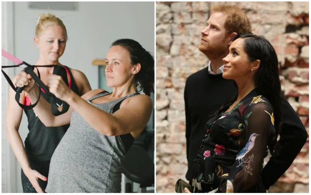 Right: Jessica Salter in the gym during her pregnancy. Left: The Duchess of Sussex is believed to be doing early morning yoga sessions
