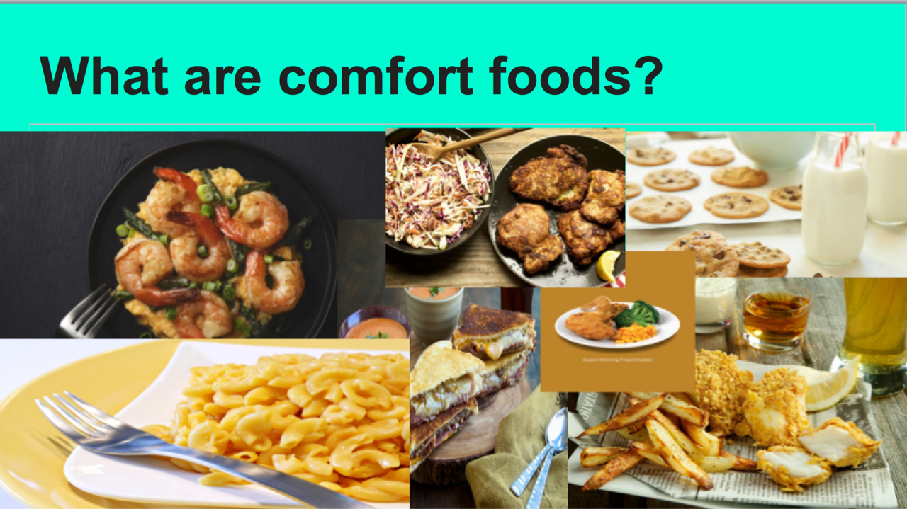 A student's love of cooking and her passion for food drove her to research into comfort foods. She discussed her favorite comfort foods from the various regions of the world. Additionally, she even conducted research in her classroom to see what her classmates comfort foods were.
