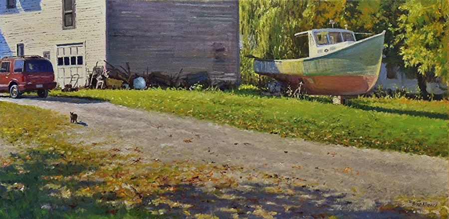 Boathouse  Oil on Canvas, 12 x 24