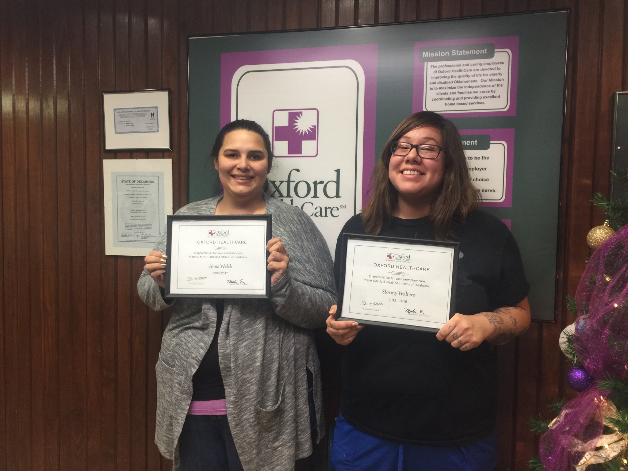 Congratulations to Alma Welch and Stormy Walters for being awarded (two of the four) Outstanding Employees with Oxford HealthCare Private Services for 2016! We appreciate all that you do for us!