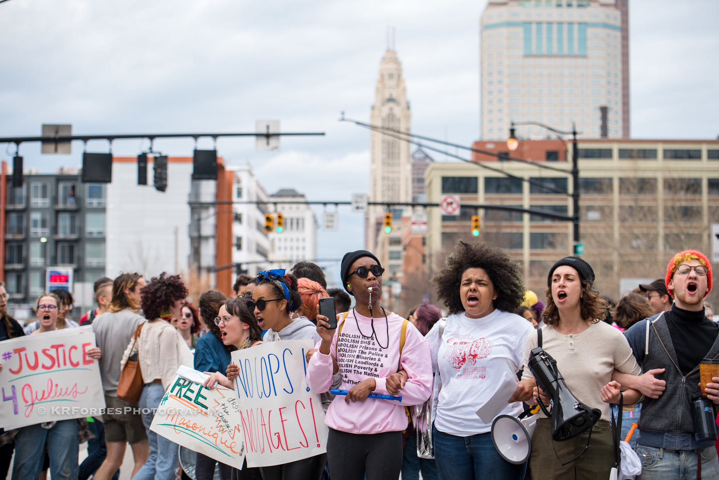 Raise a Ruckus - The Coalition to #freemasonique gathered in downtown #columbusohio to show their support for Masonique Saunders. Masonique, 17, is being charged with the murder of her boyfriend #JuliusTate , 16, who was shot and killed by the controversial Columbus POLICE during a sting operation in December 2018.click image to view more