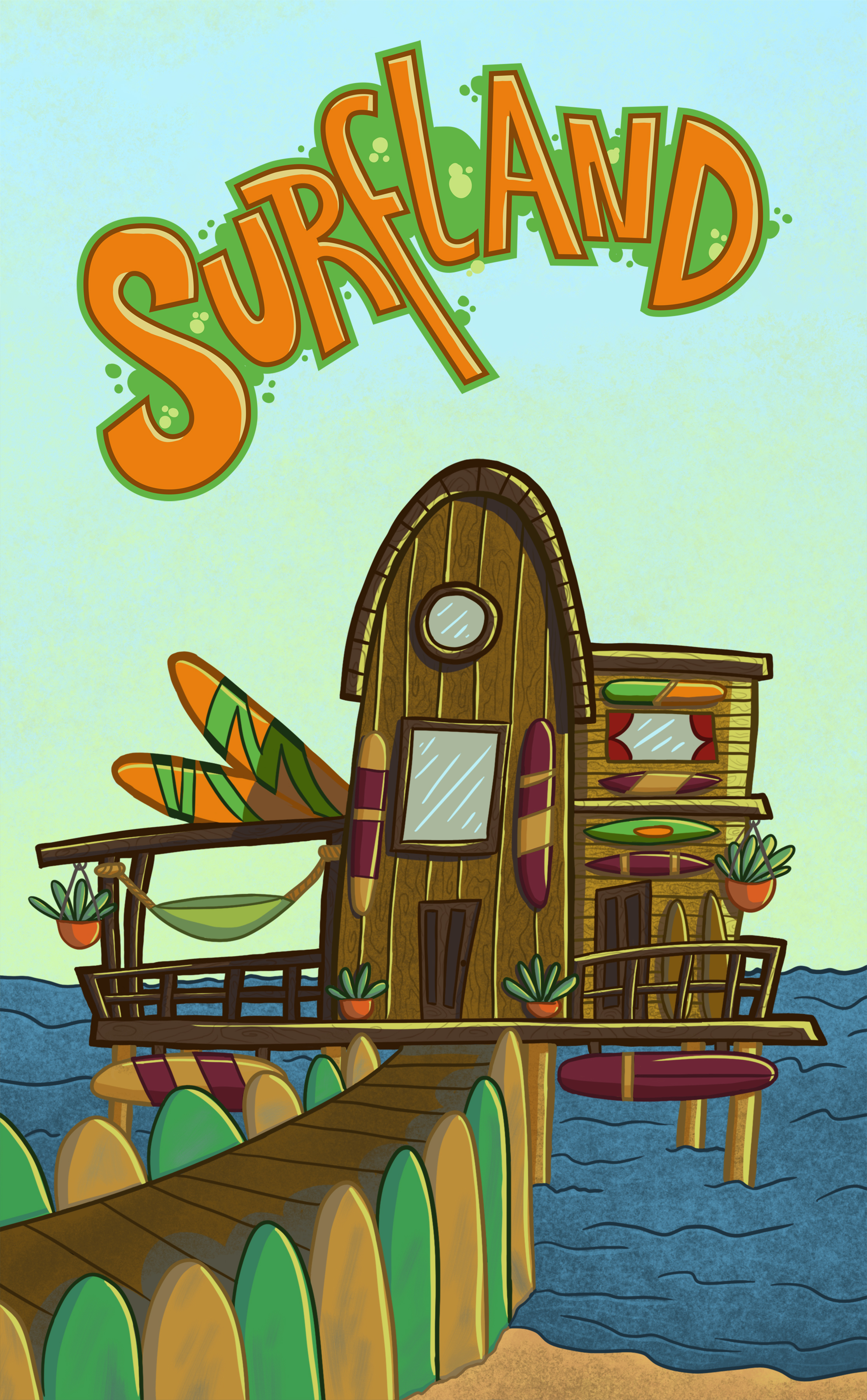 Surfland board shop concept and tittle lettering.