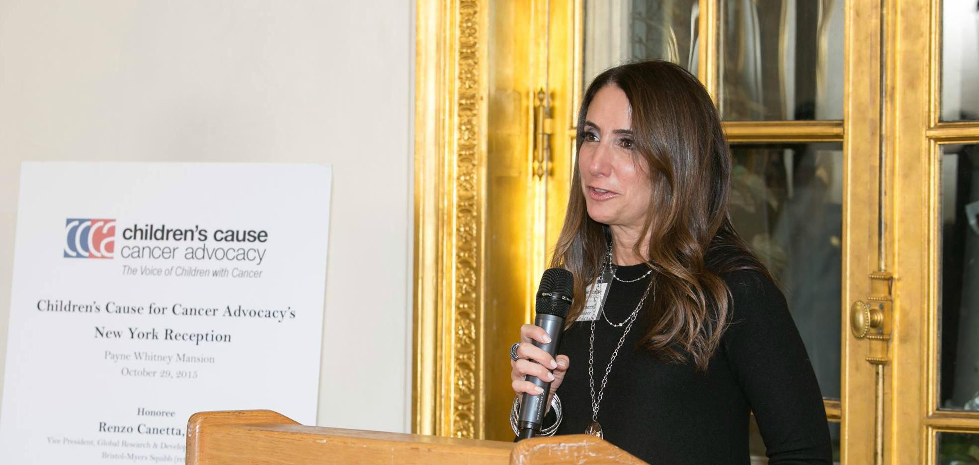 Board Secretary Susan Scherr speaks at CCCA's New York Reception in 2015
