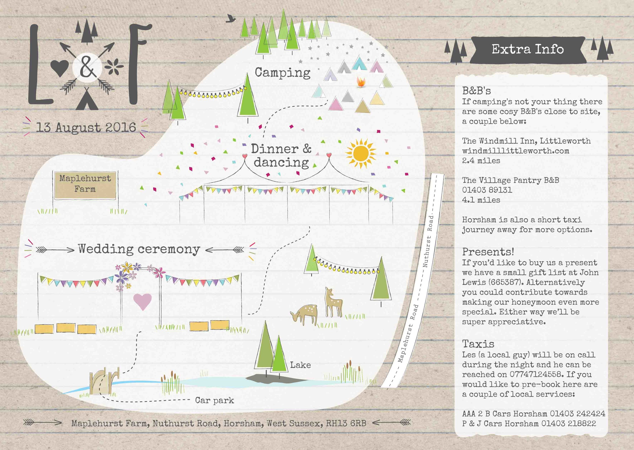Bespoke illustrated map for invite