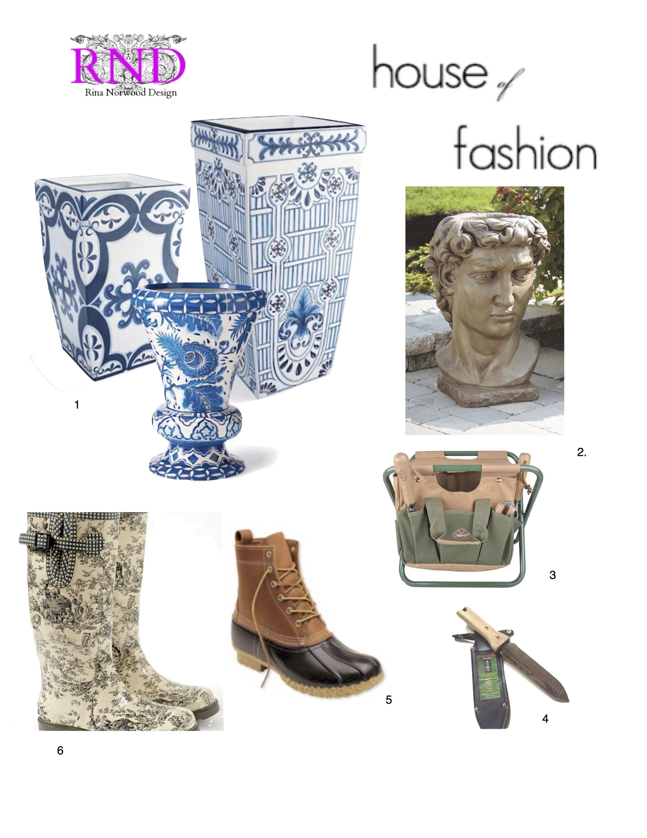 1. Terracotta pots in blue and white 2. David bust planter 3. Gardening stool 4. All in one bulb planter 5. All weather boots 6. Toile rain boots.