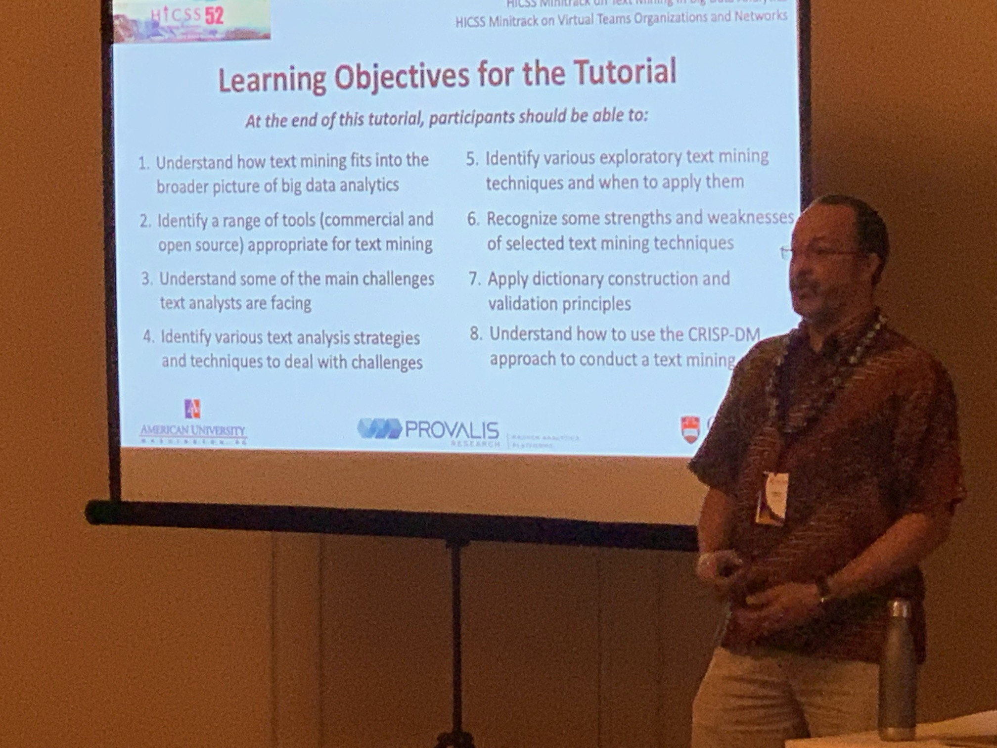 Pictured: Dr. Cogburn presenting during annual HICSS tutorial on big data analytics.
