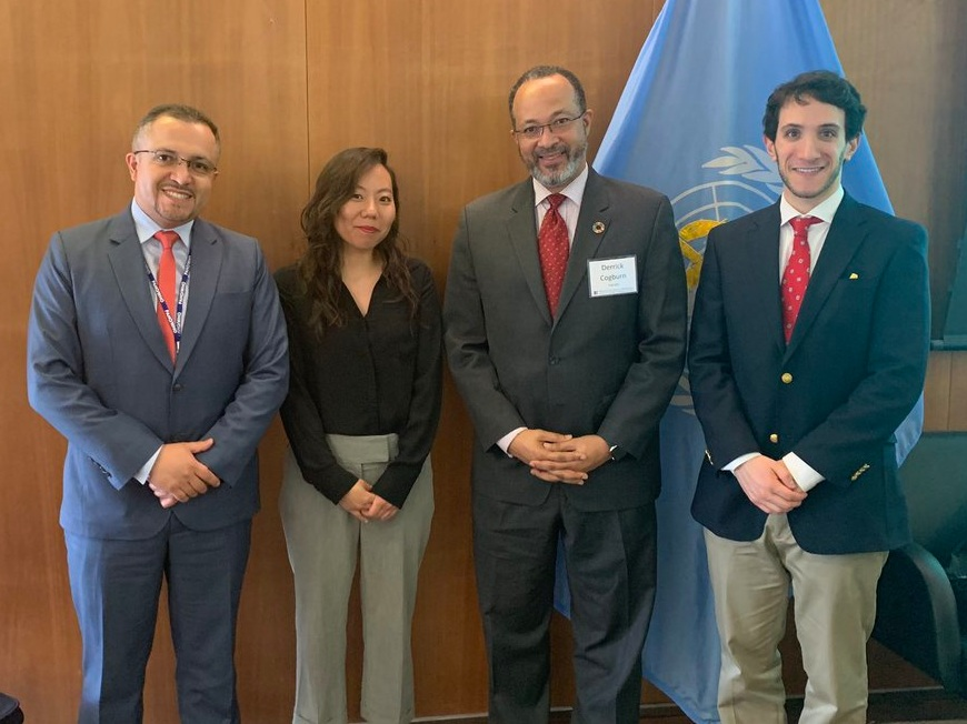 IDPP Executive Director Dr. Derrick Cogburn (center right), PAHO Regional Advisor on Emergency Preparedness and Disaster Risk Reduction Dr. Alex Camacho (left), Mr. Jonathan Lang, Manager of Health Data at Special Olympics International (right), and Ms. Jisoo Kim, Emergency Health Information Specialist at PAHO (center left).