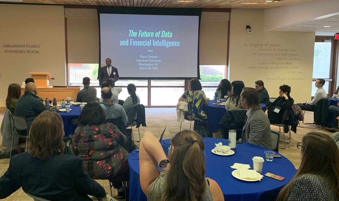 Yaya Fanusie giving opening remarks before his presentation on data and financial intelligence.