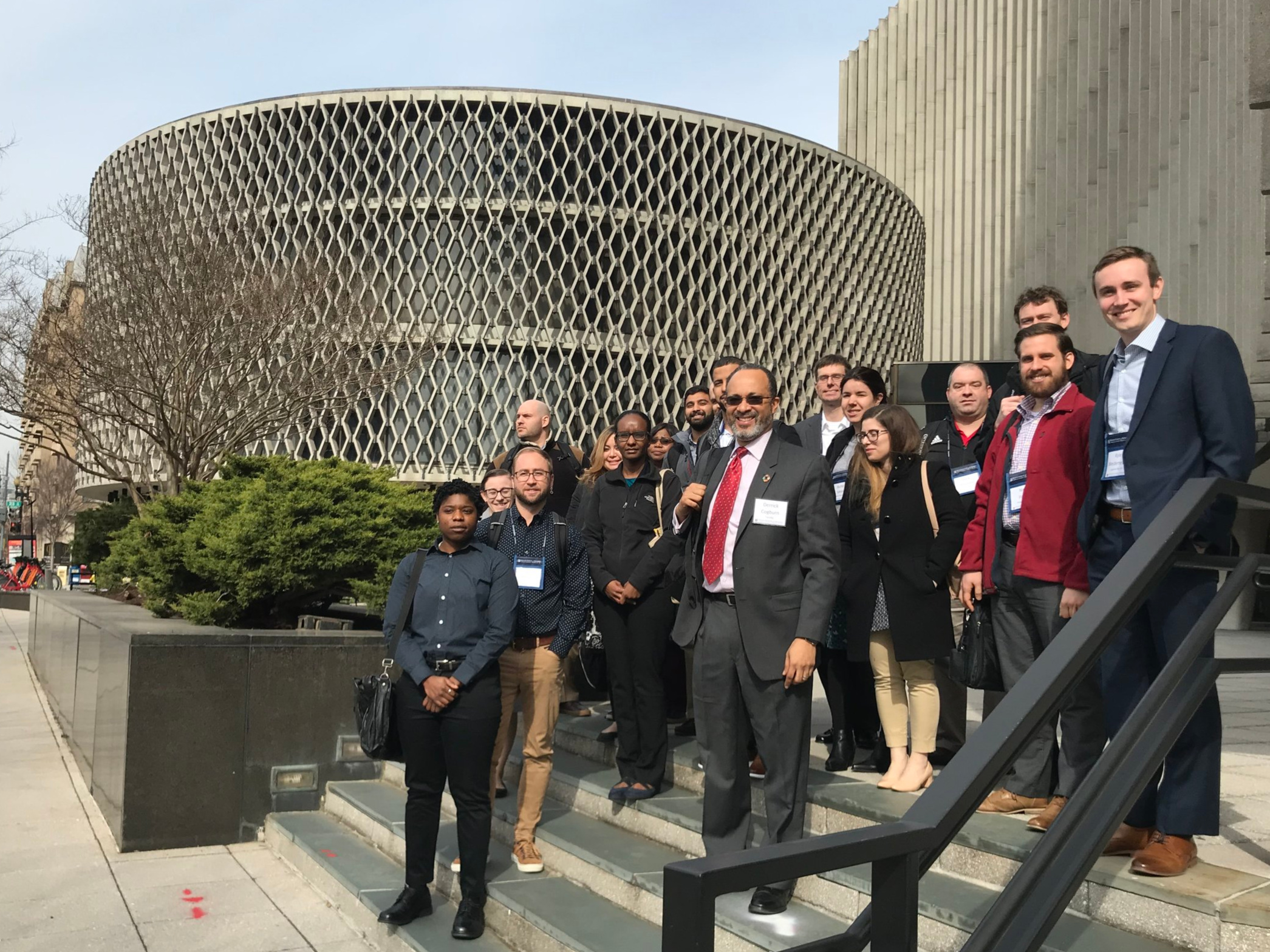 Dr. Derrick Cogburn accompanying MS in Business Analytics students for the Pan-American Health Organization' site visit.