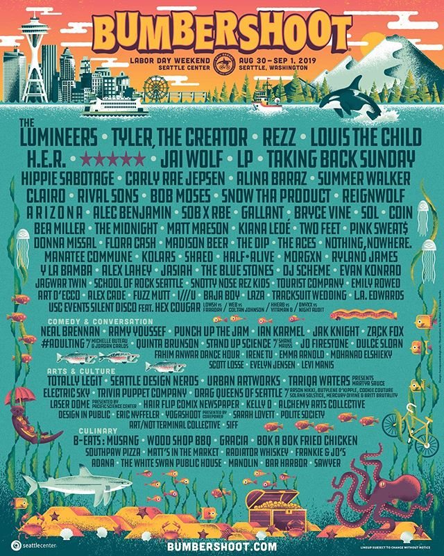 SEATTLE // Thrilled to be a part of this year's @bumbershoot. See you Labour Day Weekend. Tickets on sale Wednesday, June 5th at 10am PT.