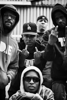 The Core Four Of The Black Hippy Collective: Foreground Center (Ab-Soul), Middle Center (Kendrick Lamar), Opposite Sides-Left (Schoolboy Q) and Right (Jay Rock).