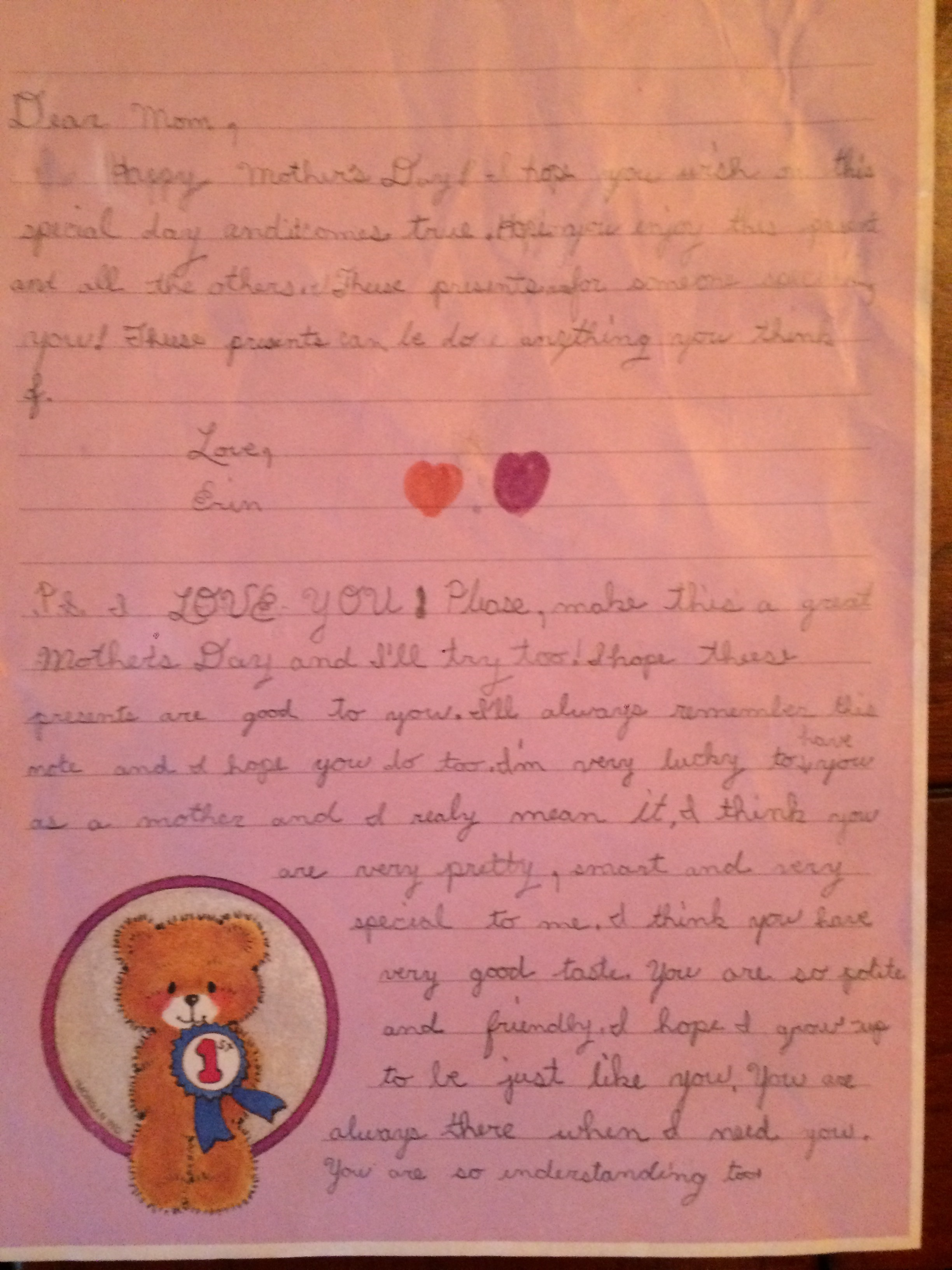 My Little Sister Wrote This To My Mother For Mother's Day At Age Eight. I Found This Gem Recently In My Parents' Basement &Had To Unearth It.