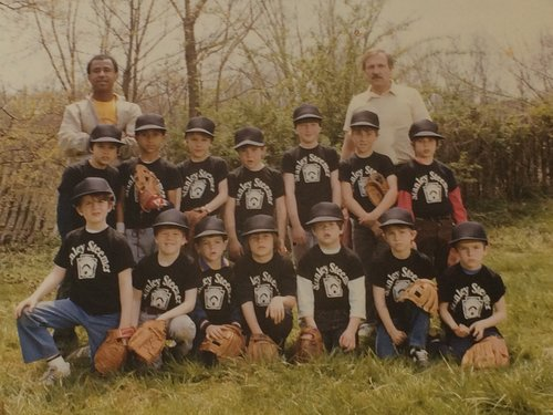 "Bomb 's (front row, 3rd in from left) First Little League squad Stanley Steamer.   Jason  (top row, 2nd in from left). RIP Stan ""The Man"" Keenan (coach on left) and  Ryan Graham DeWitt  (top row, middle)"