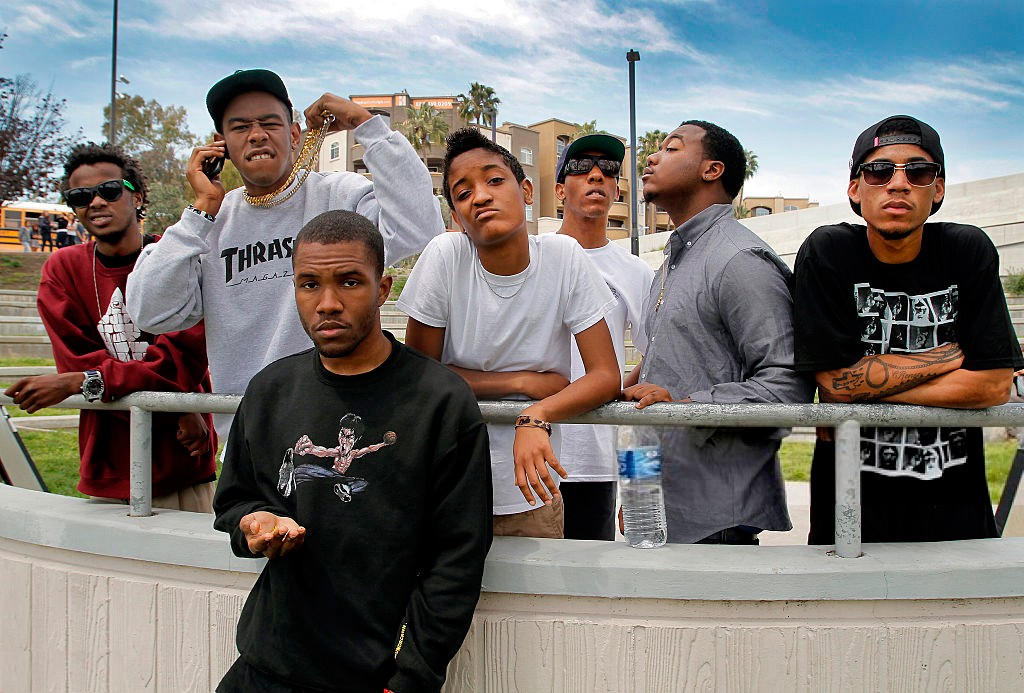 In foreground, Frank Ocean. In white-tee in middle, Syd the Kid of The Internet. Tyler to her right in Thrasher sweatshirt.