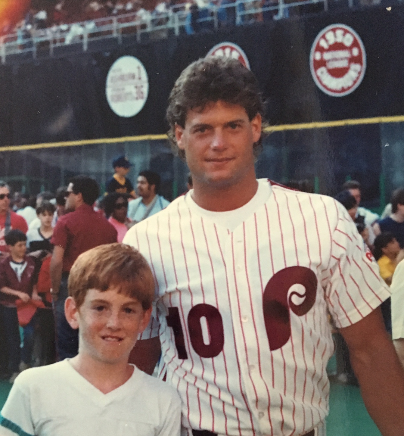 Fellow DAWG '94 alumni/WudderWorld citizen Mike Driscoll, with Dutch Daulton on the field of The Vet, Camera Night '87.