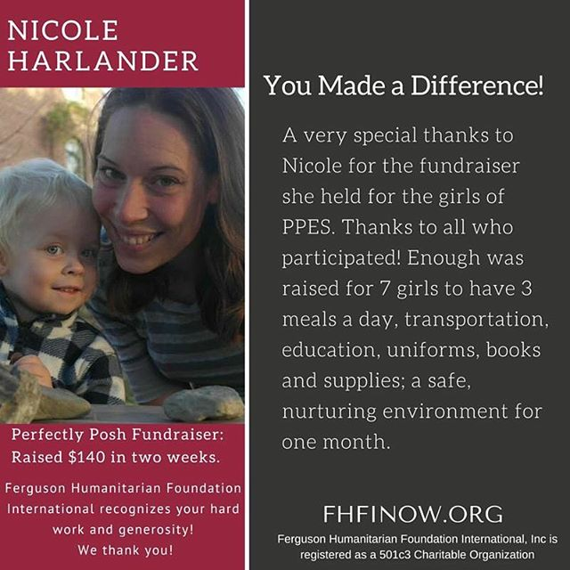 A very big thank you to Nicole! Every little bit counts! If you missed the fundraiser but still want to donate, go to fhfinow.org to change a life today!