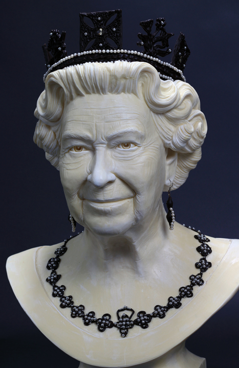 White Chocolate Queen bust with hand piped dark chocolate crown and jewels.