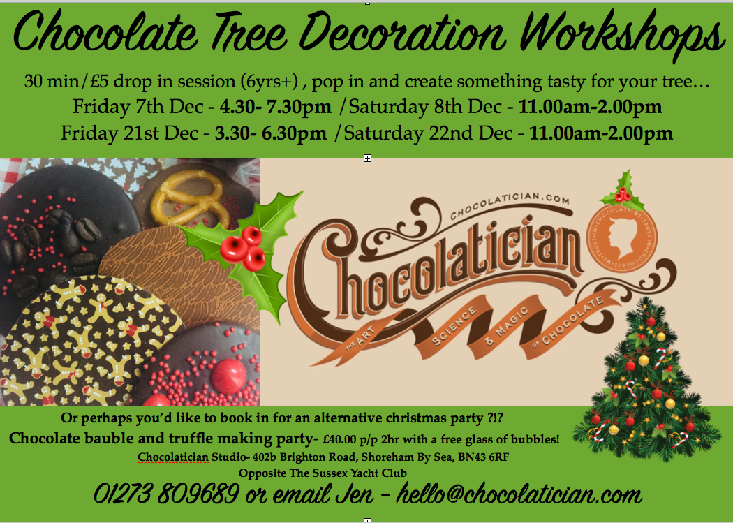 Chocolatician Christmas chocolate tree decoration poster