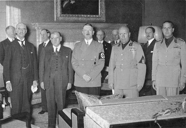 From left to right Chamberlain, Daladier, Hitler, Mussolini, and Ciano pictured before signing the Munich Agreement, which gave the Sudetenland to Germany.
