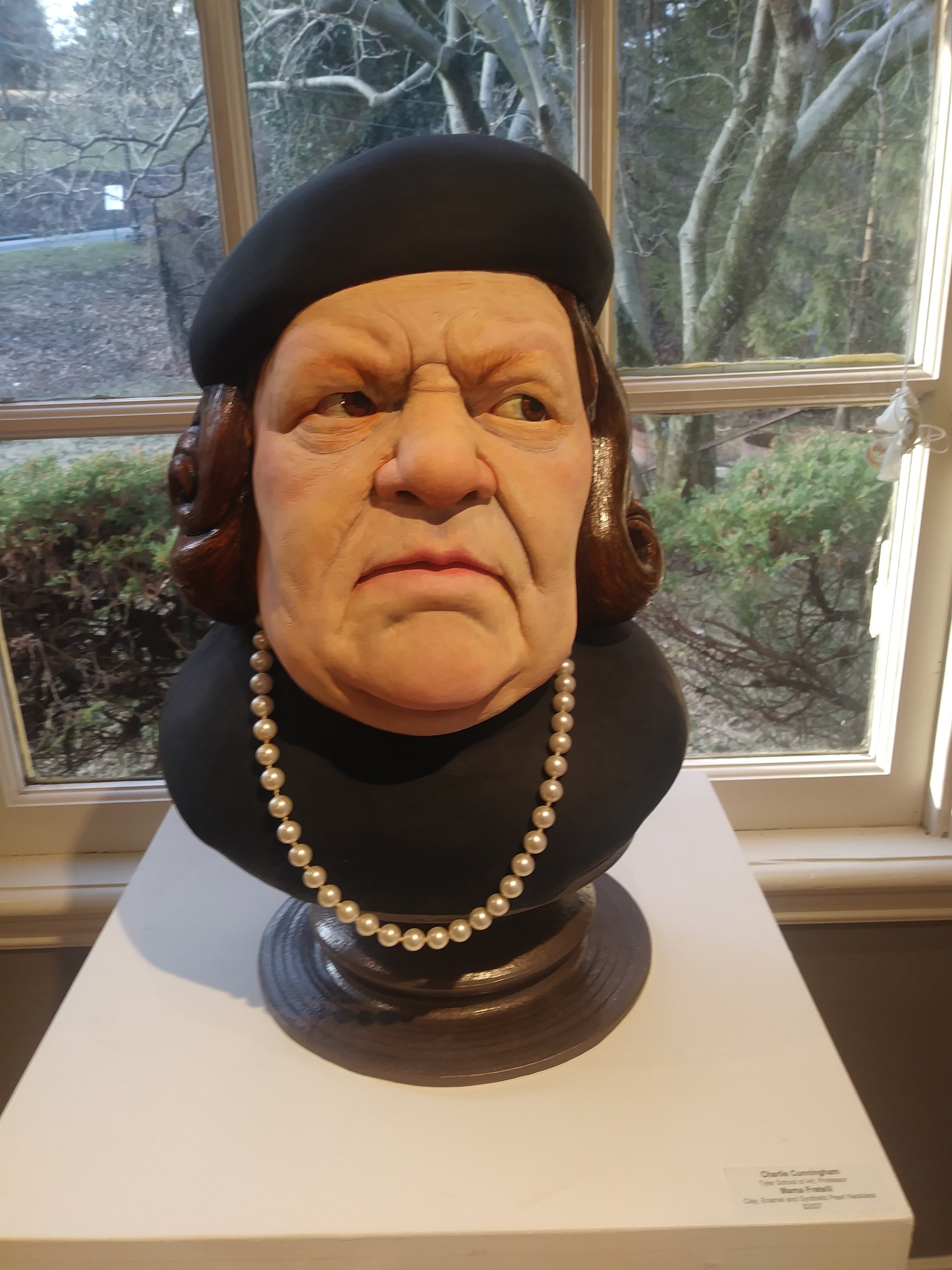 """""""Mama Fretelli"""" by    Charlie Cunningham   , Clay, Enamel and Synthetic Pearl Necklace  Is """"The Goonies"""" your favorite film? It's one of mine! (And I actually got to see the Goonies' house!)"""