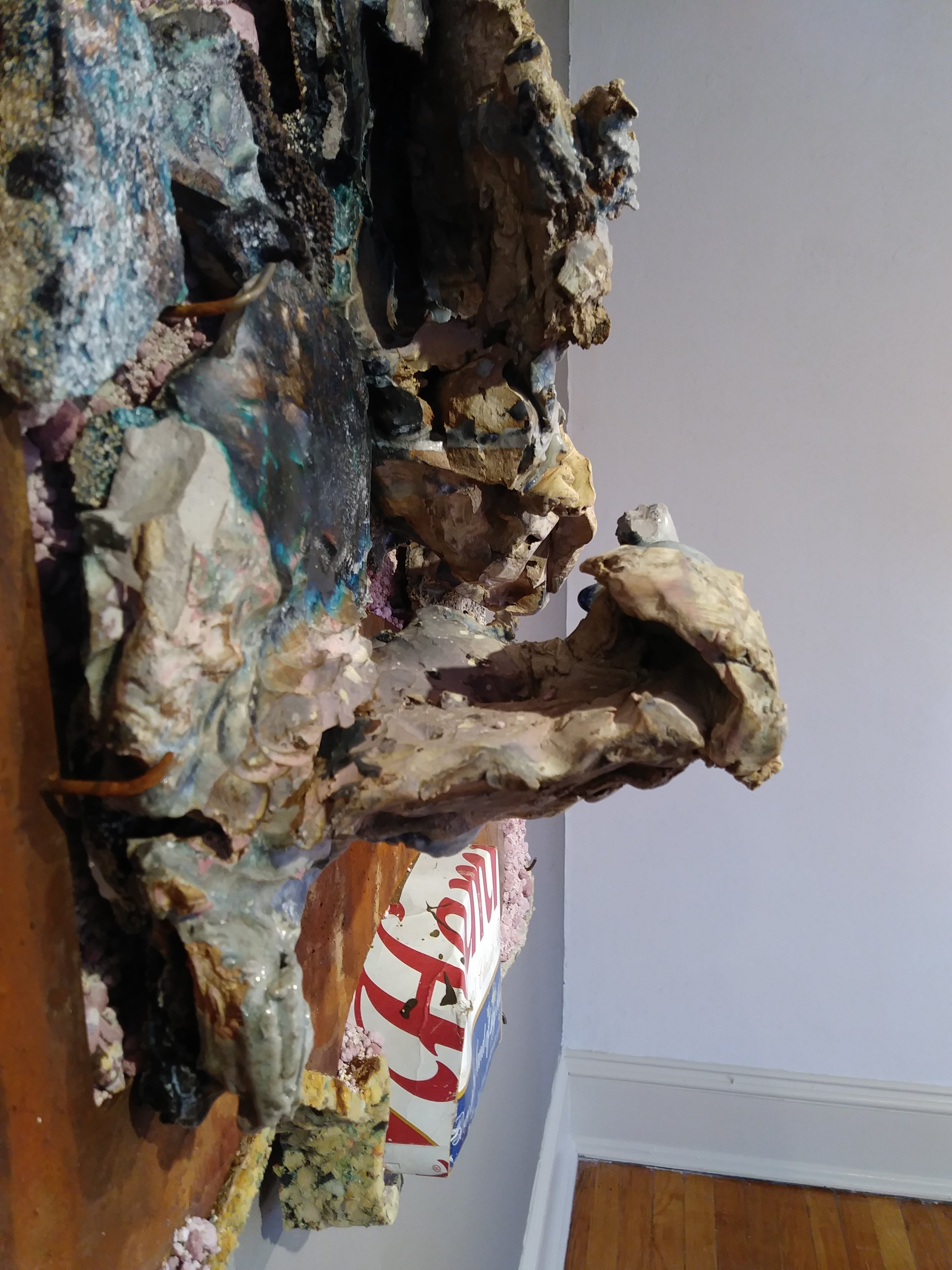 """Detail, """"BP"""" by Andrew Castaneda, Clay, Wood, Glass, Hamms Box, Metal, Carpet Pad and Ping Pong Ball"""