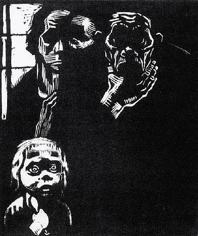 """Hunger"" by Kathe Kollwitz, woodcut"