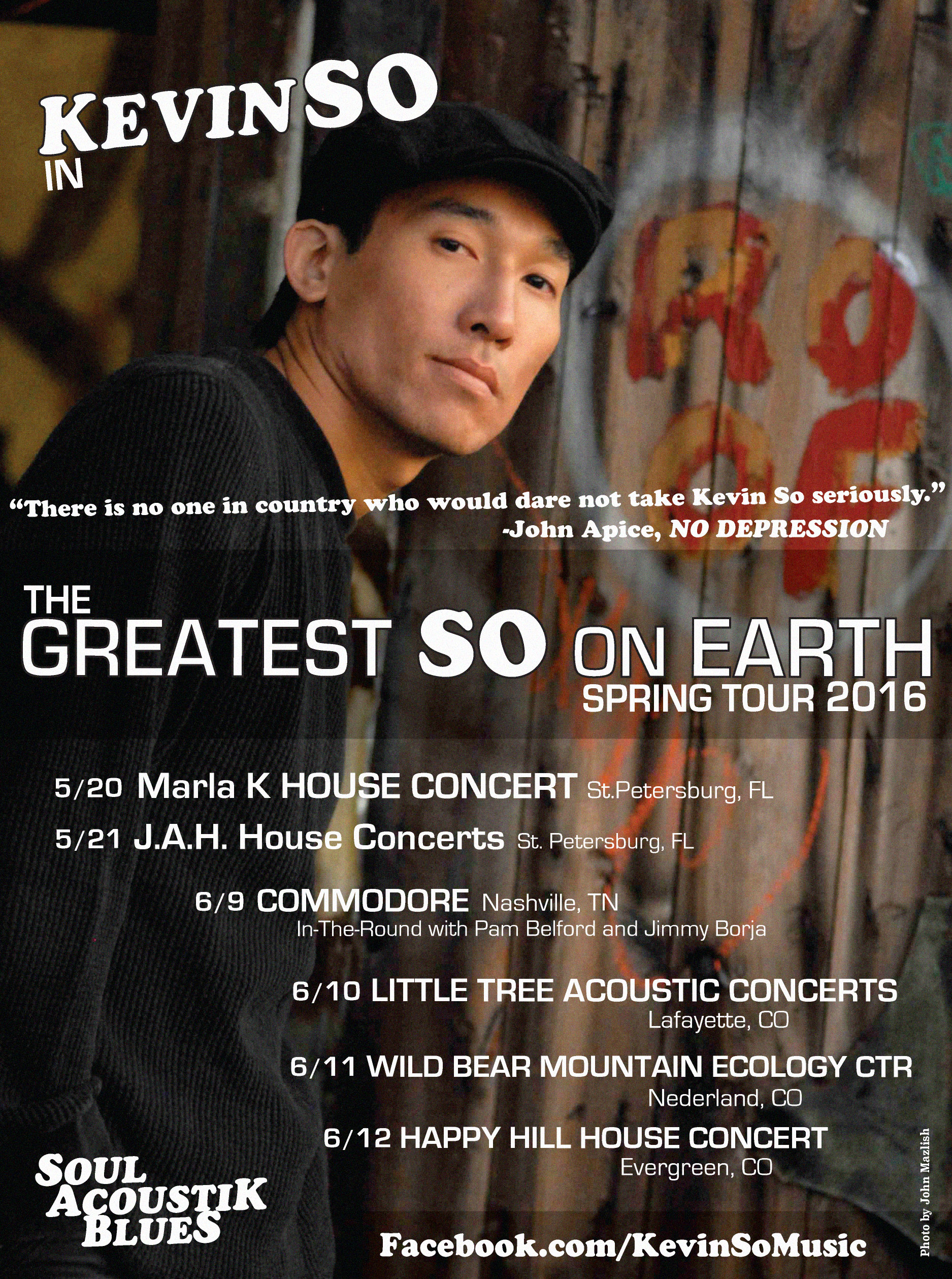 Kevin So on his Spring Solo Acoustik Blues Tour.