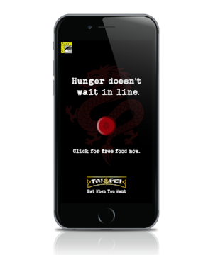 - Users will be able to order Tai Pei using the Comic Con app at events. Free food will be delivered by the Tai Pei Force to their location.