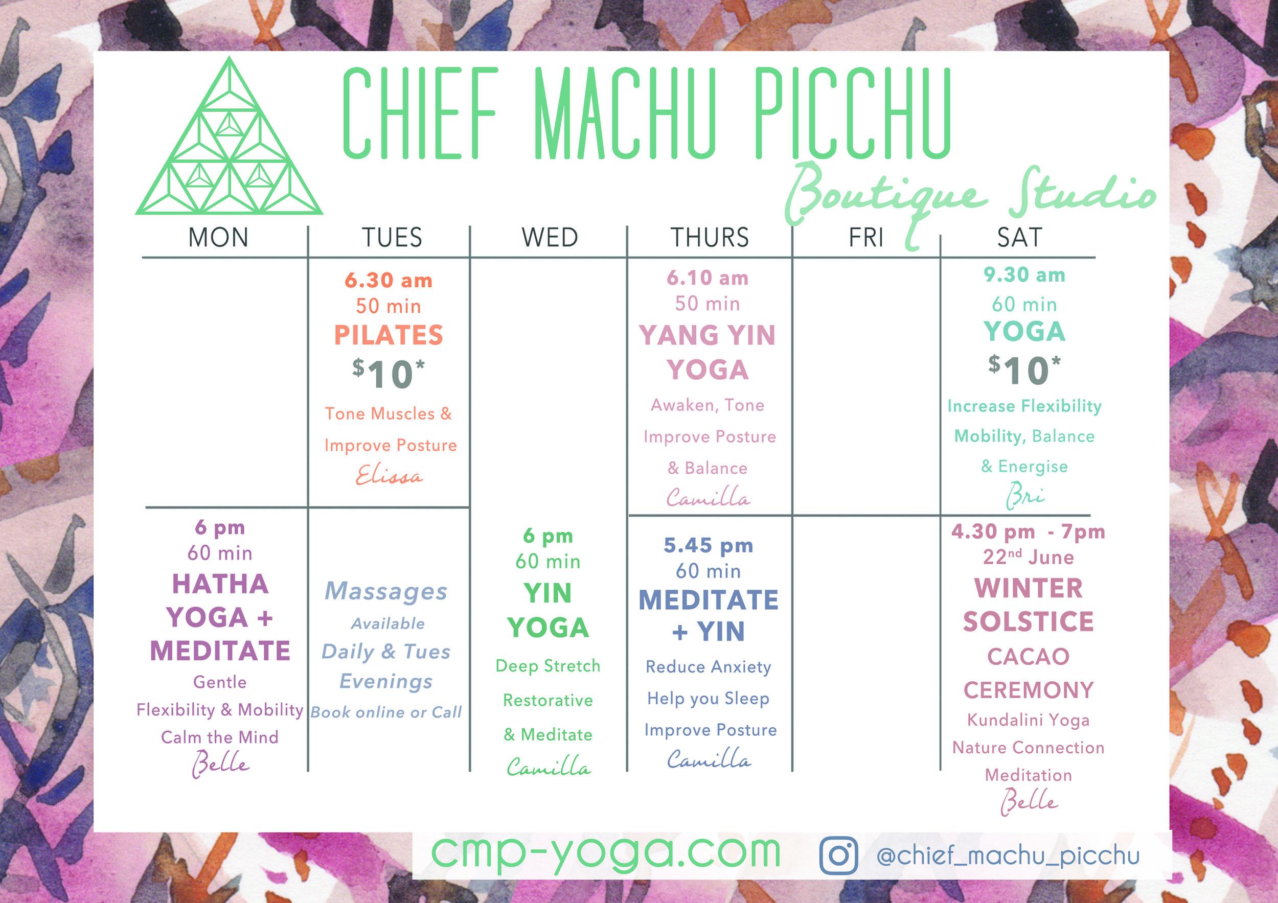 Poster Timetable  June 19 toowoomba winter solstice meditation event kundalini yang yin hatha pilates