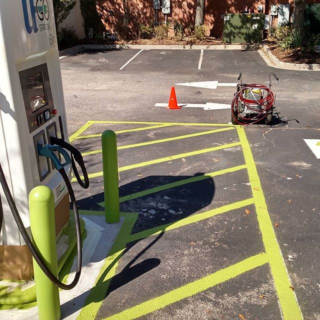 Getting a site painted and cleaned up for our EV drivers