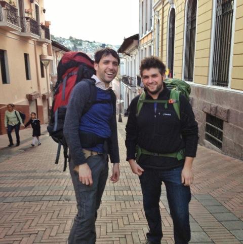 Scott and Drew hiking in Quito, Ecuador in December, 2012