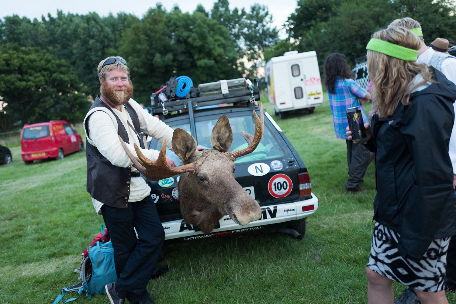 Team Fiesta Vikings drove 1500 km from Norway to the launch with a moose head on the back of their car