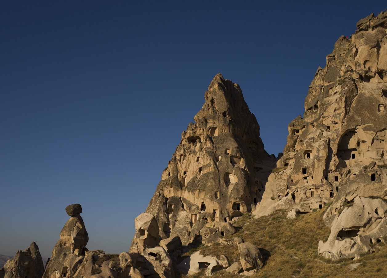 Cave homes built into the mountains in Cappadocia