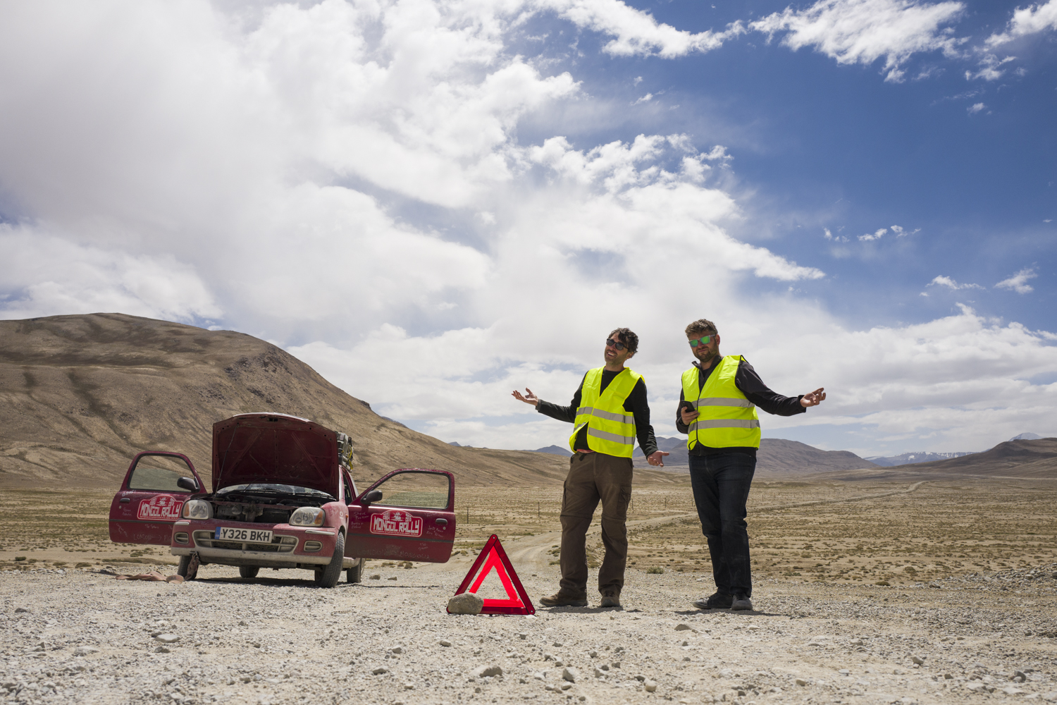 Broken down yet again in an extremely remote section of Tajikistan's Pamir Highway