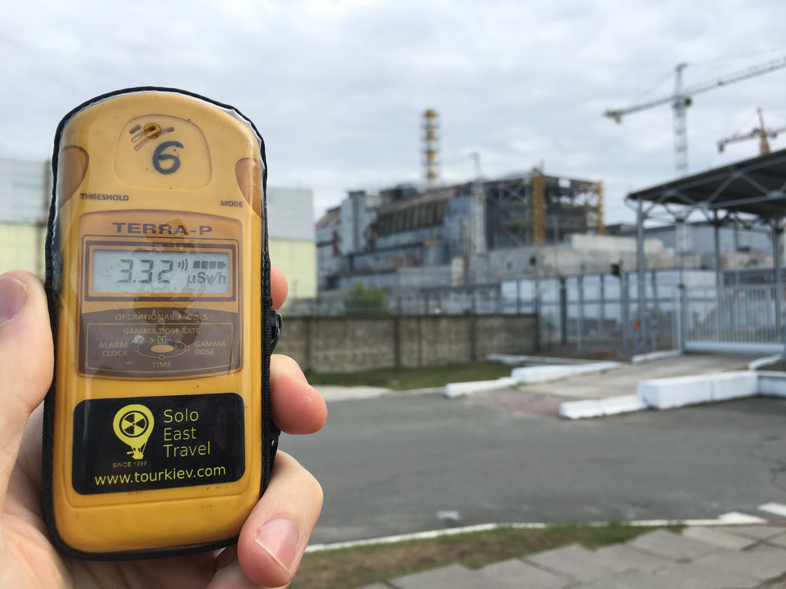 A Geiger counter measuring radiation at the Chernobyl nuclear reactor