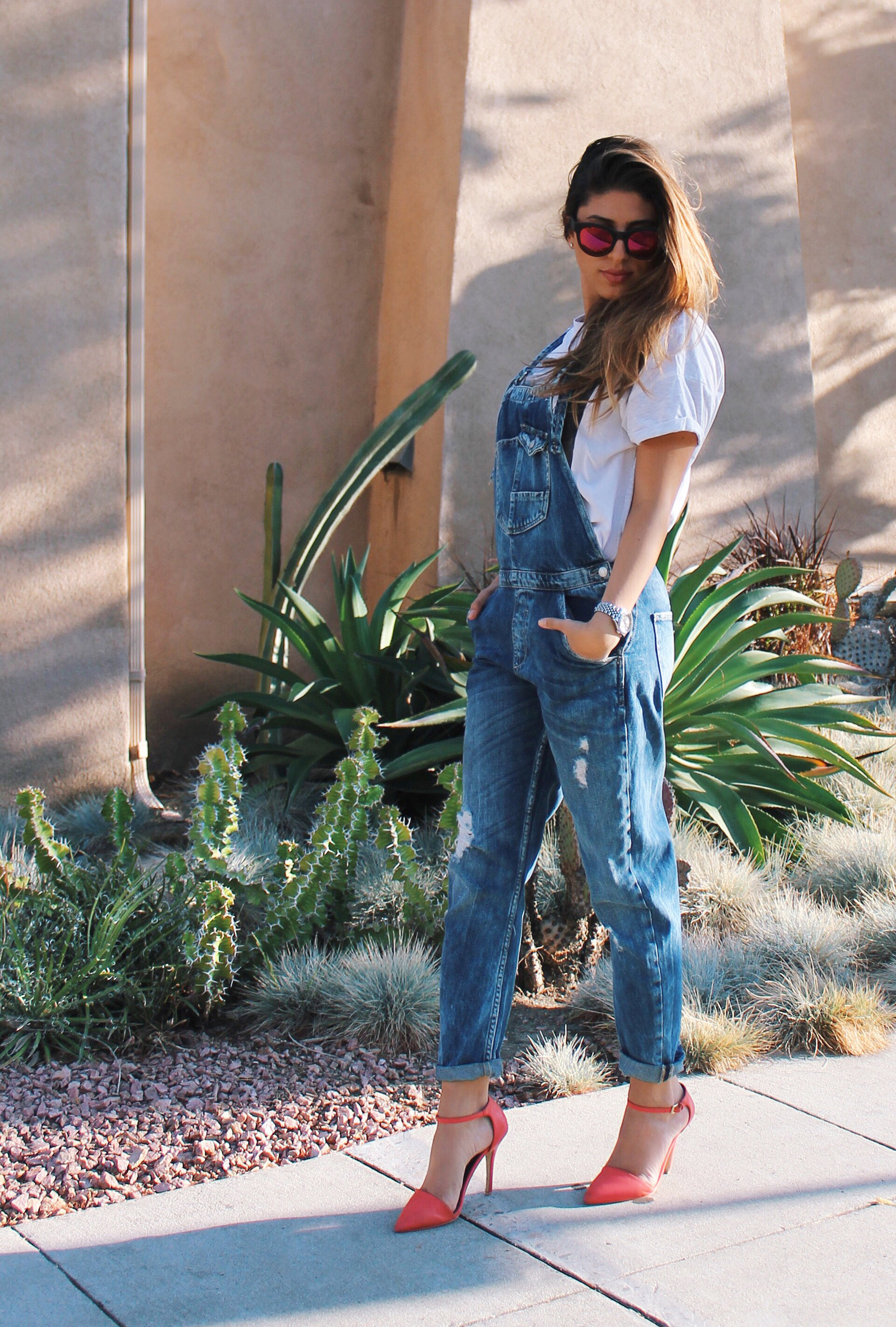 Mel Ronnie Overalls Heels Outfit