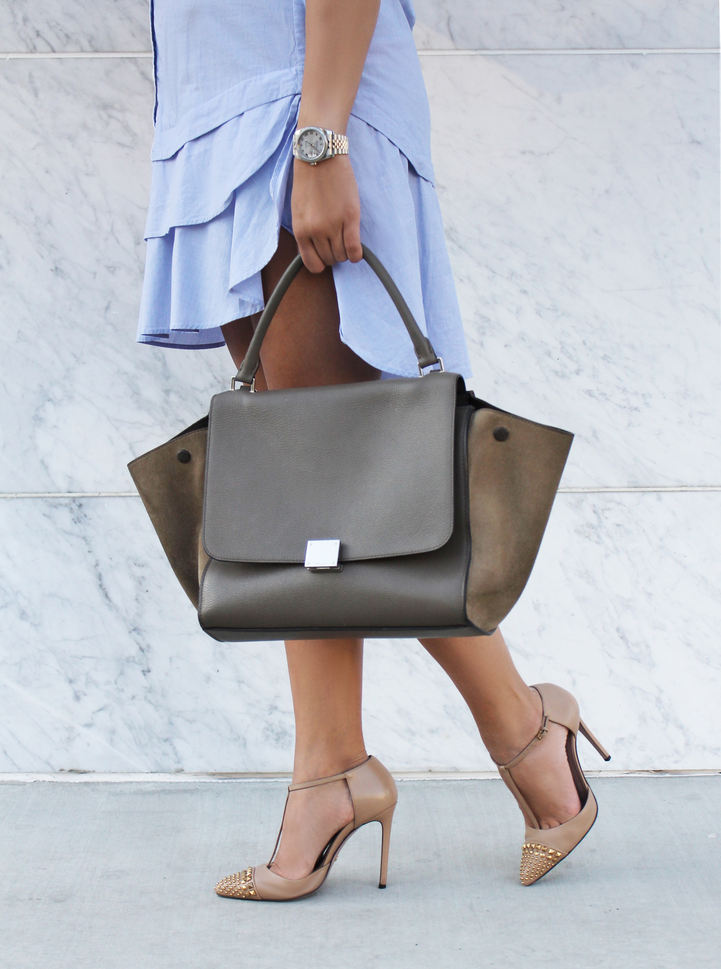Mel Ronnie Shirt Dress Outfit - Celine, Gucci, Banana Republic - Nude, Blue, Silver, Gold, Taupe