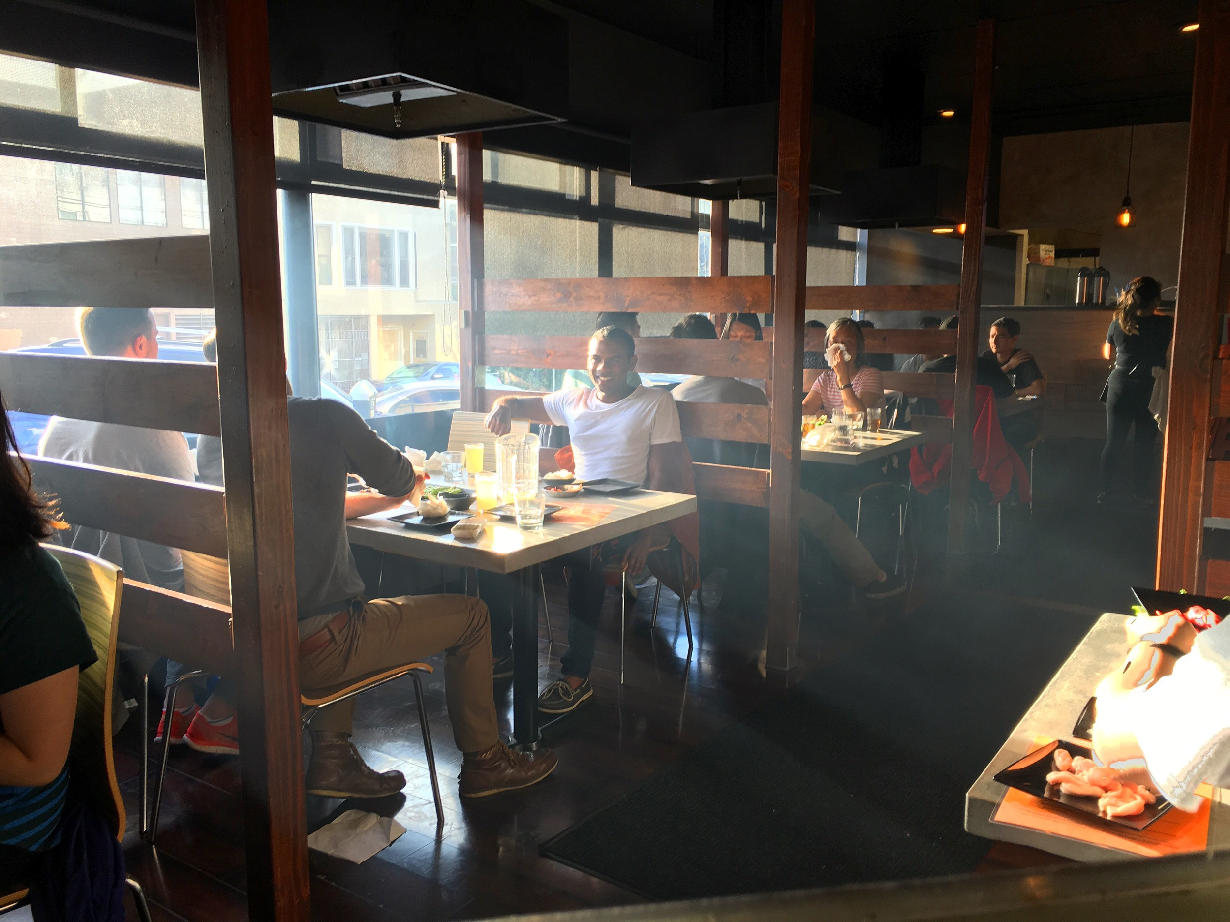 Taken at the Korean BBQ place we ate at one night. I really like this picture. I like the way the evening sun shines through the atmosphere, which consists of mostly grease.