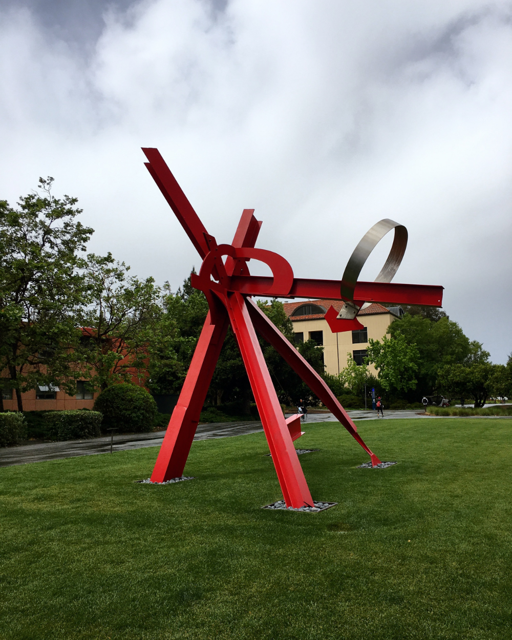 This was on Stanford campus. It's very similar to a  sculpture  outside one of the engineering buildings of the college I went to. Fun fact: my dad went to Stanford. He's a lot smarter than me.