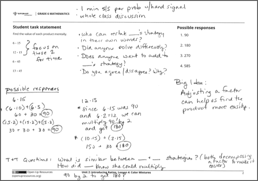 Diagram of a math lesson showing a teacher's annotations