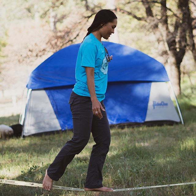 Everyone needs a little balance in life.  @sdtaj @pahaque @slackind  #slackline #camping #campsite #optoutside @naturefreakclothing