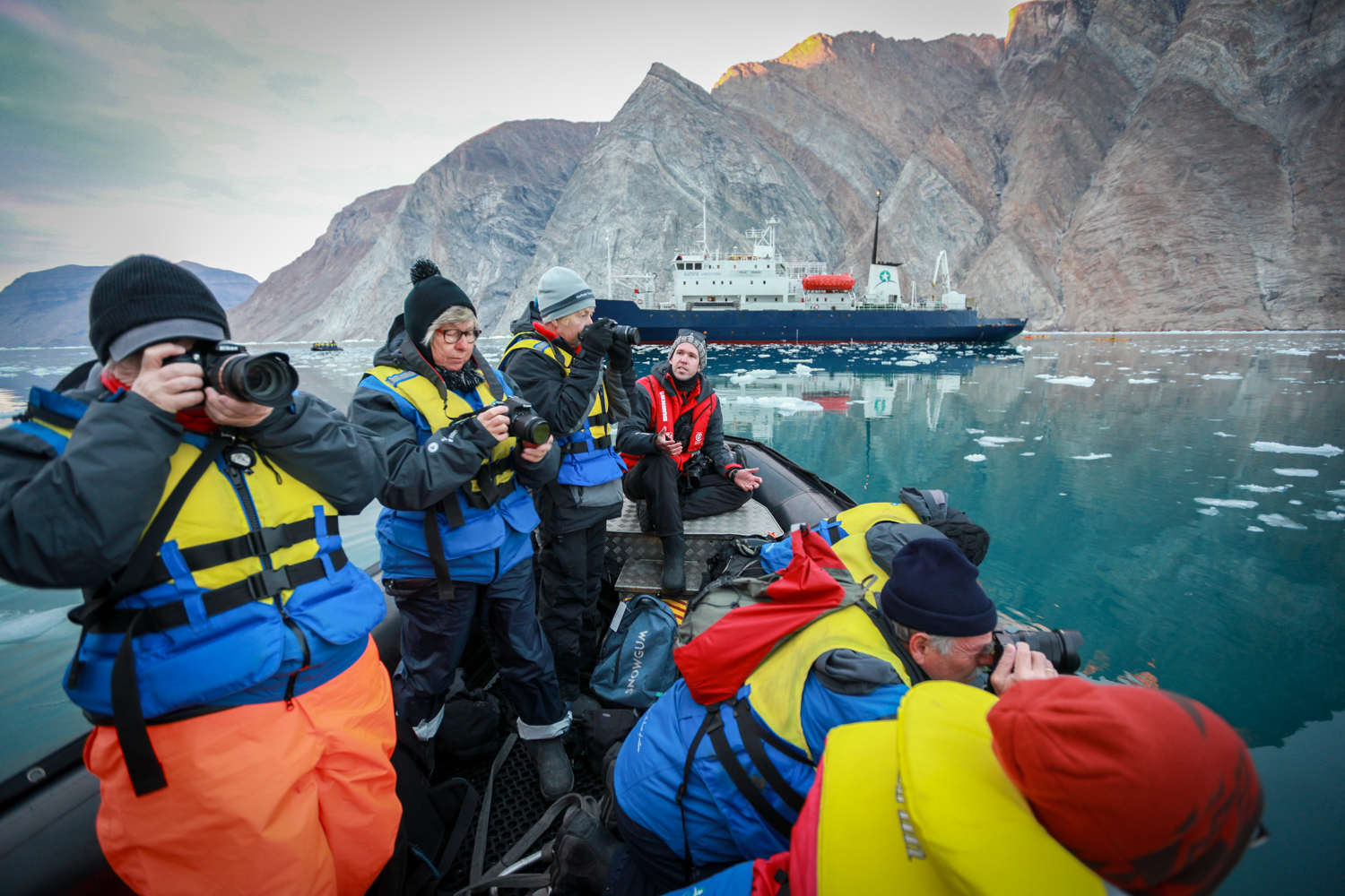 Sunrise Zodiac Workshop at Nordenskjöld Glacier, Greenland with Aurora Expeditions