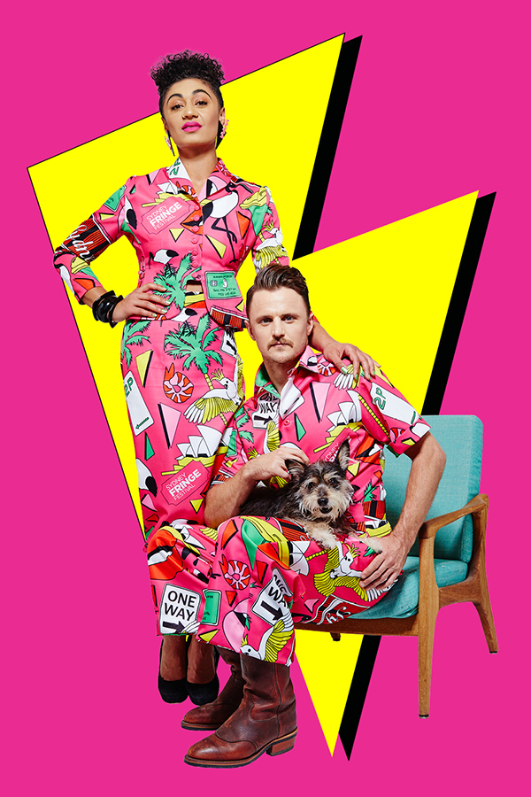 Emily Havea and Josh Thomsom in the Sydney Fringe outfits created by Nicol & Ford, print created by Frida Las Vegas.