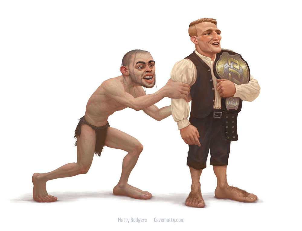 Renan Barao (left) went undefeated for almost 10 years, dominating the UFC bantamweight division for several years. Then TJ Dillishaw showed up and took him apart. I created this piece in anticipation of their rematch