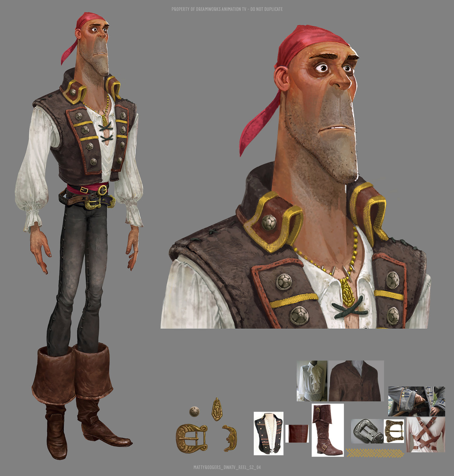 Character design by Guillermo Ramírez Calvo. Colour by Matty. Art direction by Edison Yan.  I believe Edison painted directly into this guys face near the end to really up the sun aged leather look.