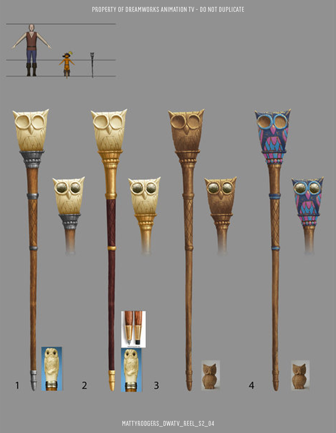 This owl staff was designed by Jake Collinge. I had a lot of fun playing with materials on the colour pass. This is a good example of how handing off the colour pass to an artist other than the one who designed the prop can bring fresh ideas to the asset. Normally three options would be enough for such a simple asset, but I was enjoying myself on this one.