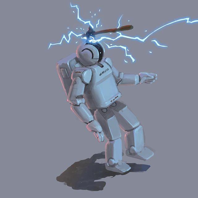 It's March already so here's a sketch for #marchofrobots. Or is it #marchofgoblins ? - - - - - - - - - - #cavematty #mattyrodgers #marchofrobots #marchofrobots2019 #marchofthegoblins #dailydraw #procreate #ipadpro #artistoninstagram #robot #goblin #fantasyart #scifi