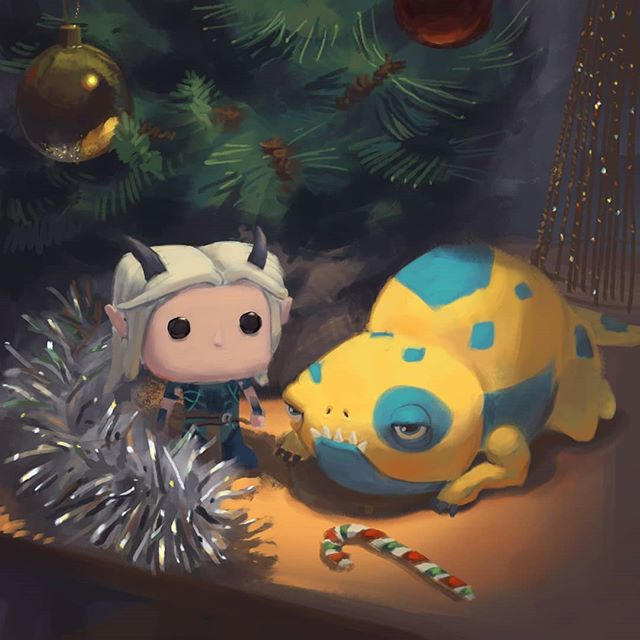 Merry Christmas to my time traveling friends and family in New Zealand!  Here's a wee festive still life featuring the lead character from the Dragon Prince: BAIT!  You can buy the plushie from @hottopic . The Rayla pop figure on the other hand... well maybe @originalfunko should get started on making them huh? - - - - - #merrychristmas #happyholidays #seasonsgreetings #dragonprince #thedragonprince #cavematty #mattyrodgers #bardelvibes #stilllife #art #illustration #artistoninstagram