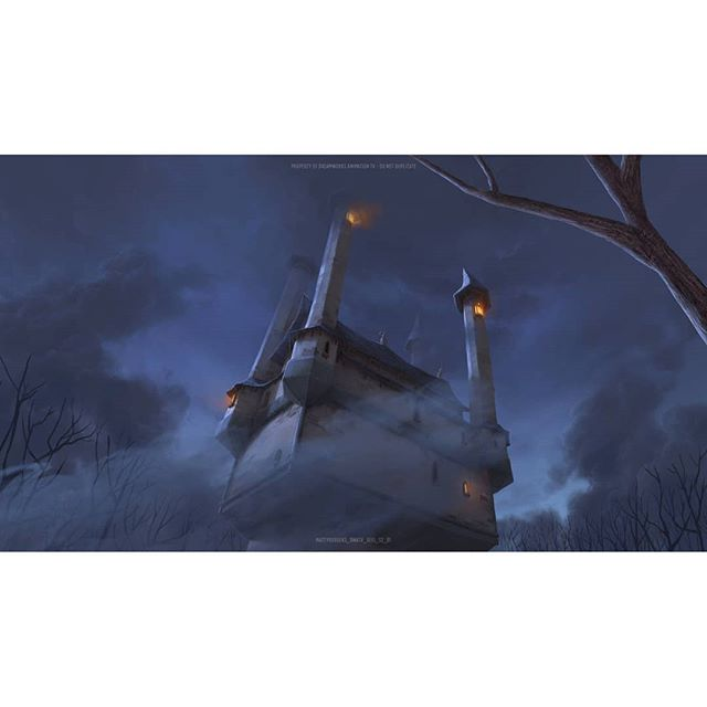 Here's a throwback Thursday to a matte painting from The Adventures of Puss in Boots.  Back in 2014 I made a big life change with an international relocation and a shift from live action features to animated television.  It's been a hell of a ride. Since I've been in Vancouver I've become a Mr and a father. I've met a tonne of great people and learned a lot about my craft. Ive even tried my hand at leading an art team. Thanks to @bardelentertainment for a great opportunity, @ushio18  for being a great mentor, and of course @joanneduff_design for so very much! - - - - -  #bardelvibes #pussinboots #mattepainting #animation #witch #castle #creepy #mood #cavematty #mattyrodgers #tbt