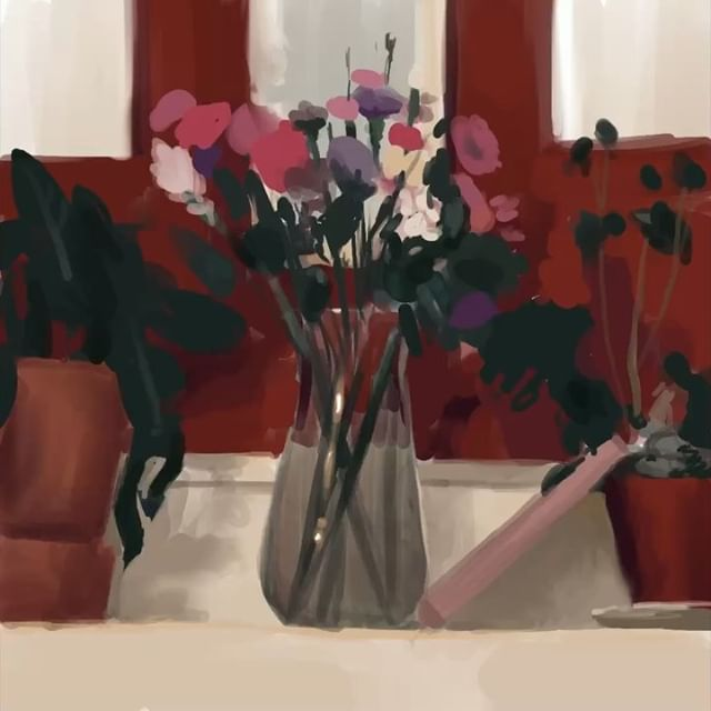 I'm finally reading Richard Schmid. Very motivational so far _ _ _ _ _ #betterlatethannever #stilllife #pleinair #ipadpro #procreate #art #cavematty #mattyrodgers #allaprima #flowers #red